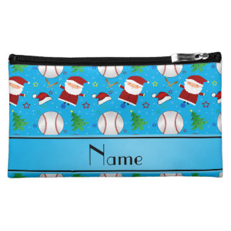 Personalized name sky blue baseball christmas cosmetic bags