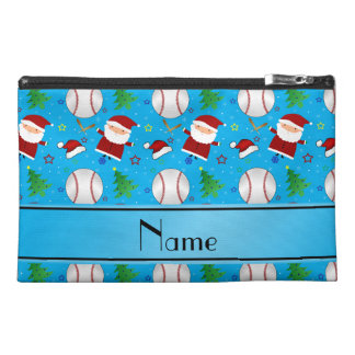 Personalized name sky blue baseball christmas travel accessories bags