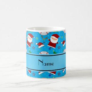 Personalized name sky blue baseball christmas classic white coffee mug