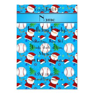 Personalized name sky blue baseball christmas 5x7 paper invitation card