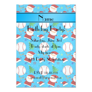 Personalized name sky blue baseball christmas magnetic invitations
