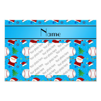 Personalized name sky blue baseball christmas photo print