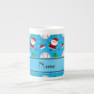 Personalized name sky blue baseball christmas tea cup