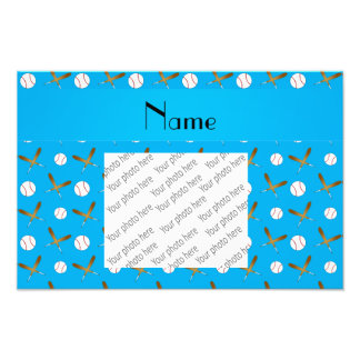 Personalized name sky blue baseball photo print