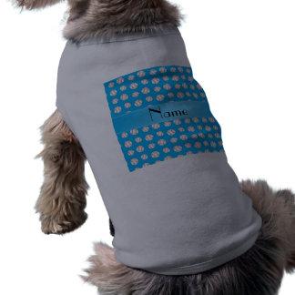 Personalized name sky blue baseballs pattern pet tee shirt