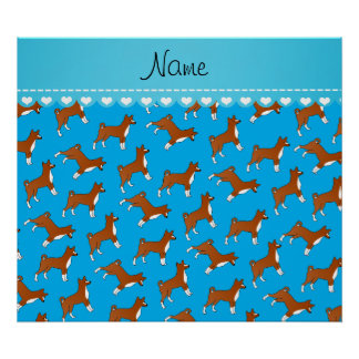 Personalized name sky blue basenji dogs poster