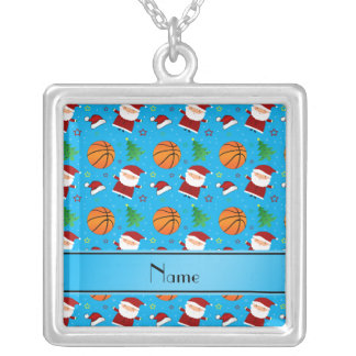 Personalized name sky blue basketball christmas personalized necklace