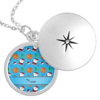 Personalized name sky blue basketball christmas custom jewelry