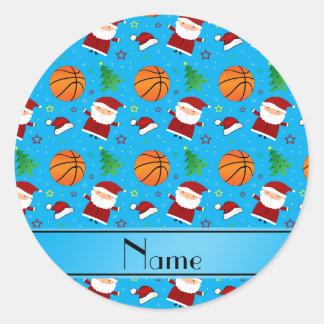 Personalized name sky blue basketball christmas sticker