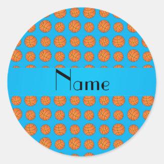 Personalized name sky blue basketballs sticker