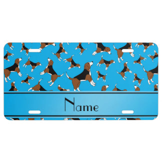 Personalized name sky blue beagle dog pattern license plate