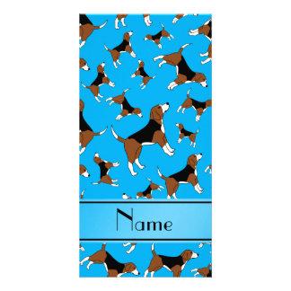 Personalized name sky blue beagle dog pattern photo card