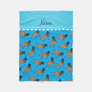 Personalized name sky blue belgian tervuren dogs fleece blanket