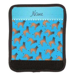 Personalized name sky blue belgian tervuren dogs handle wrap