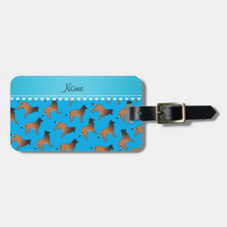 Personalized name sky blue belgian tervuren dogs luggage tag