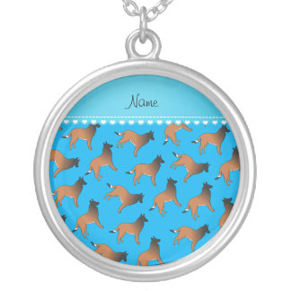 Personalized name sky blue belgian tervuren dogs round pendant necklace