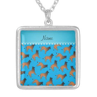 Personalized name sky blue belgian tervuren dogs square pendant necklace