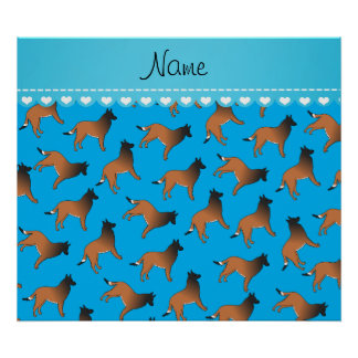 Personalized name sky blue belgian tervuren dogs poster