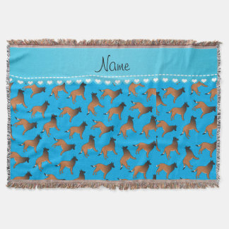 Personalized name sky blue belgian tervuren dogs throw