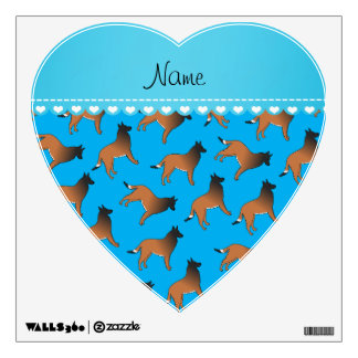 Personalized name sky blue belgian tervuren dogs wall decals
