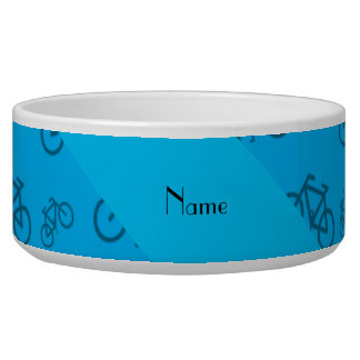 Personalized name sky blue bicycle pattern dog water bowl