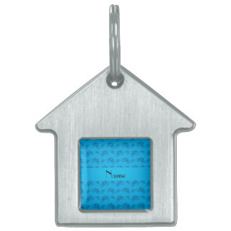 Personalized name sky blue bicycle pattern pet name tags