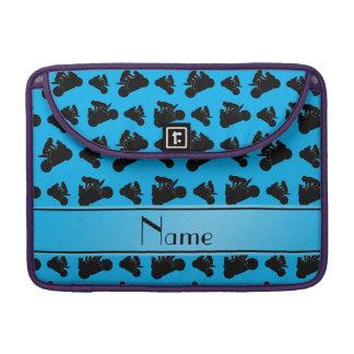 Personalized name sky blue black motorcycle racing MacBook pro sleeves