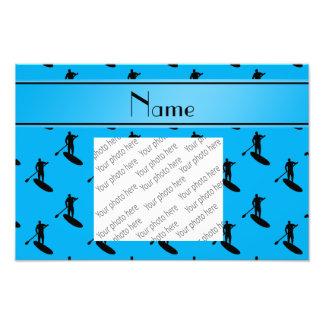 Personalized name sky blue black paddleboarding photo print