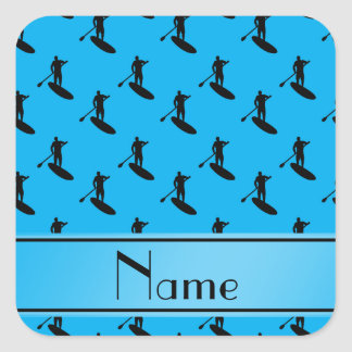 Personalized name sky blue black paddleboarding square sticker