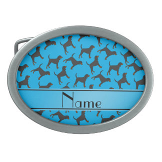 Personalized name sky blue black tan coonhounds belt buckles