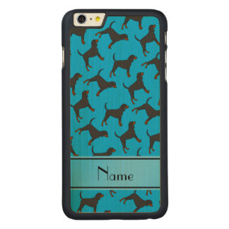 Personalized name sky blue black tan coonhounds carved® maple iPhone 6 plus case