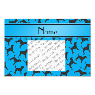 Personalized name sky blue black tan coonhounds photo print