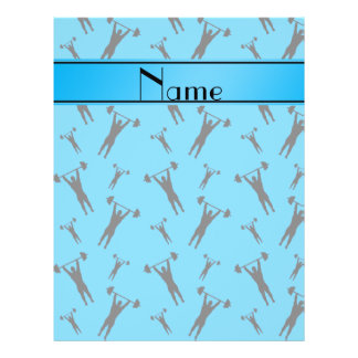 """Personalized name sky blue black weightlifting 8.5"""" x 11"""" flyer"""