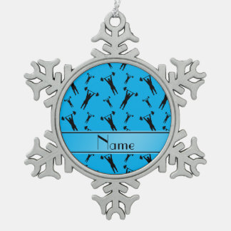 Personalized name sky blue black weightlifting snowflake pewter christmas ornament