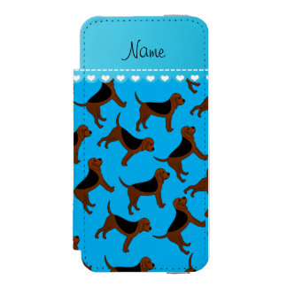 Personalized name sky blue bloodhound dogs incipio watson™ iPhone 5 wallet case