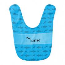 Personalized name sky blue bluefin tuna pattern baby bib