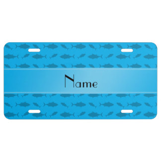 Personalized name sky blue bluefin tuna pattern license plate