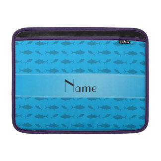 Personalized name sky blue bluefin tuna pattern MacBook air sleeve
