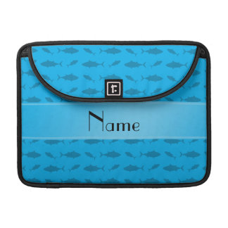 Personalized name sky blue bluefin tuna pattern MacBook pro sleeves