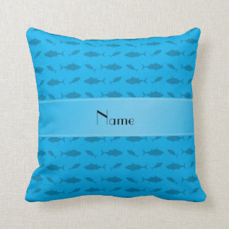 Personalized name sky blue bluefin tuna pattern throw pillow