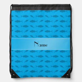 Personalized name sky blue bluefin tuna pattern cinch bags