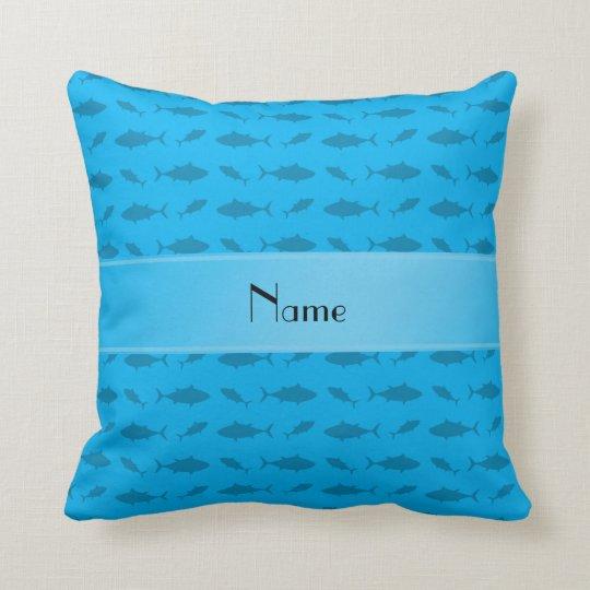 Sky Blue Throw Pillow : Personalized name sky blue bluefin tuna pattern throw pillow Zazzle