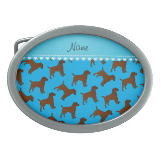Personalized name sky blue border terrier dogs oval belt buckle