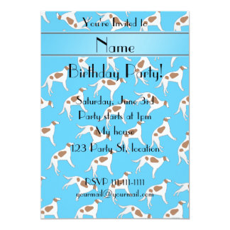 Personalized name sky blue borzoi dog pattern 5x7 paper invitation card