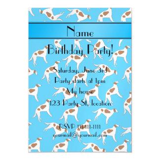 Personalized name sky blue borzoi dog pattern magnetic invitations