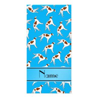 Personalized name sky blue borzoi dog pattern photo card