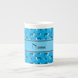 Personalized name sky blue boston terrier tea cup