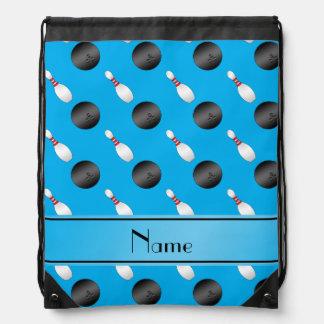 Personalized name sky blue bowling balls pins drawstring bag