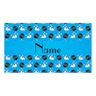 Personalized name sky blue bowling pattern business card templates