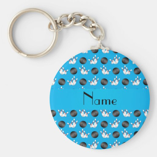Personalized name sky blue bowling pattern key chains